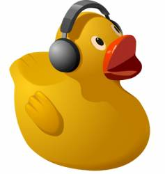 Rubber ducky with headphones vector