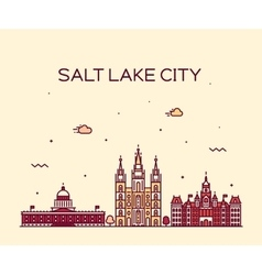 Salt Lake city skyline Utah linear style vector