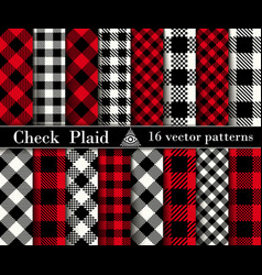 Set check plaid seamless patterns backgrounds vector