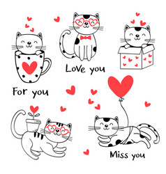 set isolated black love cats vector image