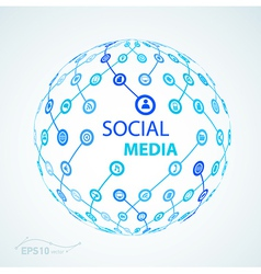 social media element icon sphere worldwide vector image vector image