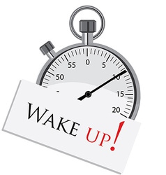 Stopwatch with text wake up vector image