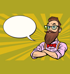 stylish bearded hipster with glasses confident vector image