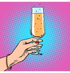 Toast a female hand with glass champagne vector