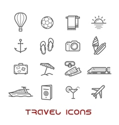 Travel and leisure thin line icons vector image