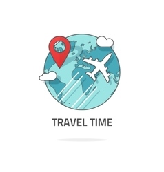 Travelling by plane concept travel and world trip vector image