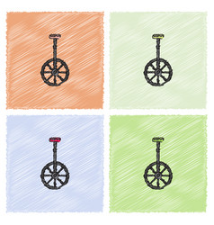 Unicycle one wheel bicycle cartoon flat style in vector