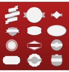 vintage christmas labels set on red background vector image