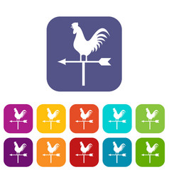 weather vane with cock icons set vector image