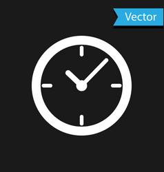 white clock icon isolated on black background vector image