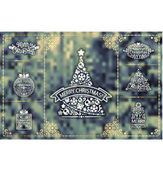 winter christmas design elements golden set vector image