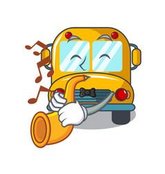 with trumpet school bus mascot cartoon vector image