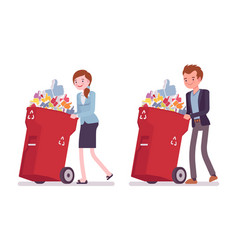 Young businessman and businesswoman pushing vector