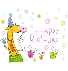 Birthday giraffe vector image vector image
