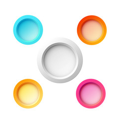 Set of five colorful buttons vector