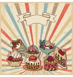 background with of cake in retro style Vintage vector image vector image