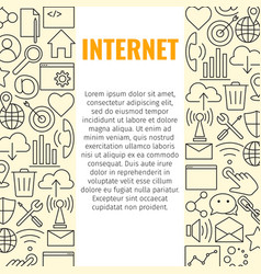internet line icons banner vector image vector image