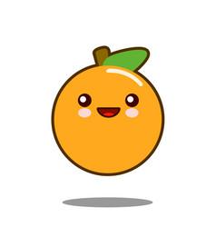 orange fruit cartoon character icon kawaii flat vector image vector image