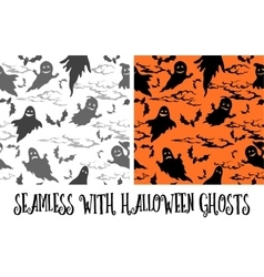 Seamless halloween pattern ghosts vector