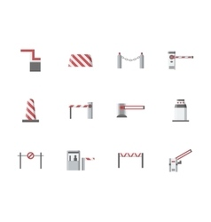 Traffic gates flat color icons vector image