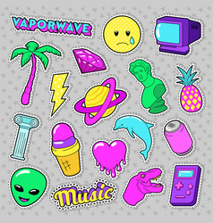 vaporwave fashion funky elements with heart vector image vector image