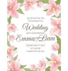 Wedding invitation magnolia sakura border frame vector image vector image