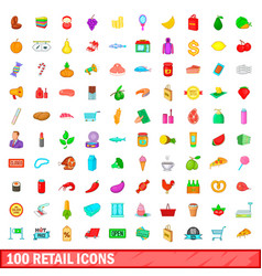 100 retail icons set cartoon style vector image vector image