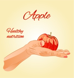 Apple in the palm of healthy nutrition vector image vector image