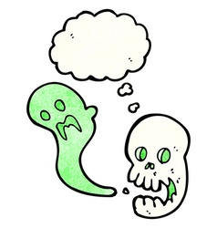 cartoon spooky skull with thought bubble vector image vector image