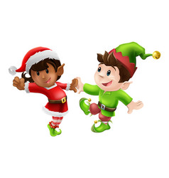 christmas elves dancing vector image vector image