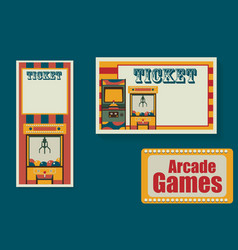 ticket templates for playing park or room arcade vector image