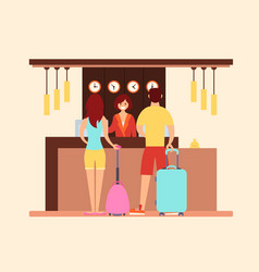 tourists at the hotel reception vector image vector image