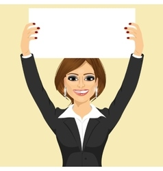businesswoman holding white blank board vector image