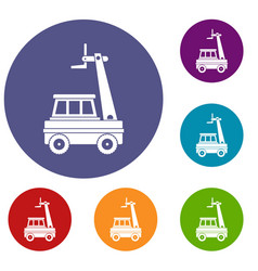 Cherry picker icons set vector