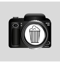 digital photo camera pop corn pin vector image vector image