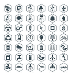 eco icons black set vector image