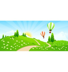 Green Landscape with Road Flowers Trees vector image vector image