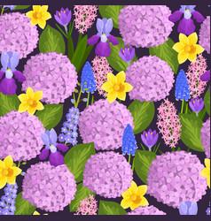 watercolor nature flowers wreath vector image