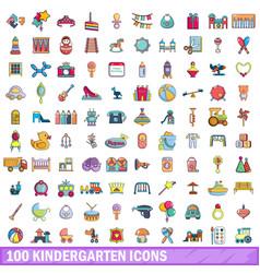 100 kindergarten icons set cartoon style vector