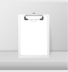 3d realistic white clipboard with blank vector image