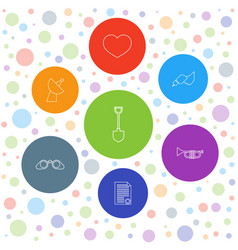 7 button icons vector image