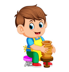 A man molding a vase of clay on a potters wheel vector