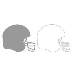 american football helmet grey set icon vector image