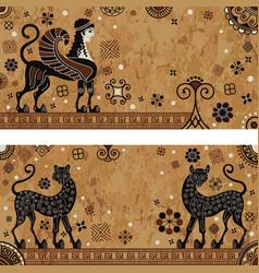 Ancient greece mythologyblack figure potteryanci vector