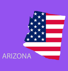 Arizona state of america with map flag print vector