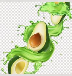 Avocado fruit juice splash vector