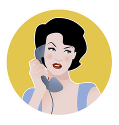 Beautiful girl talking on the phone retro style vector