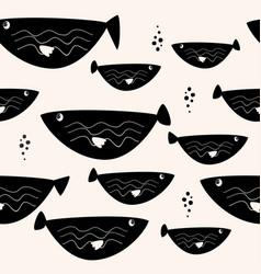 Black fish seamless pattern sea wildlife simple vector