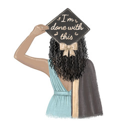 Black girl graduated student in cap and gown vector