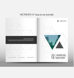 Blue triangle geometric annual report brochure vector